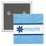Botón floral azul alegre del día de madre pin