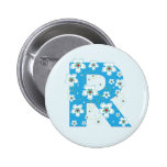 Botón floral azul bonito inicial del monograma R,  Pin
