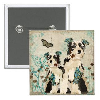 Botón floral azul de los perros del vintage pin