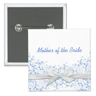 Botón floral azul de lujo de la cinta de los pin cuadrado