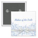 Botón floral azul de lujo de la cinta de los pins