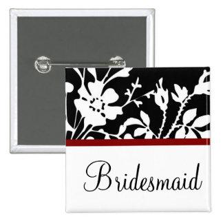 Botón floral blanco y negro de la dama de honor pins