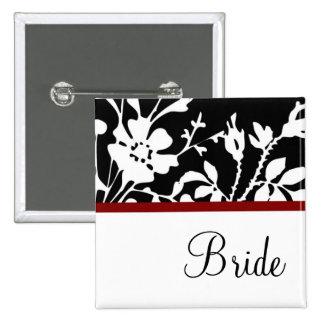Botón floral blanco y negro de la novia pins