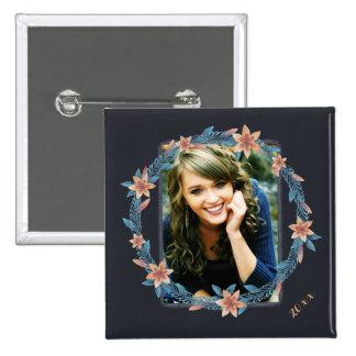 Botón floral bonito de la foto pin cuadrado