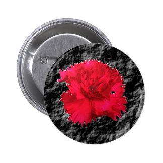 Botón floral de la fantasía del clavel rojo pin redondo de 2 pulgadas