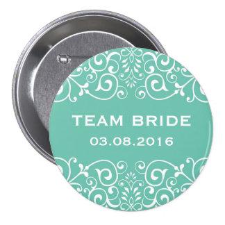 Botón floral de la novia del equipo de la frontera pin redondo de 3 pulgadas