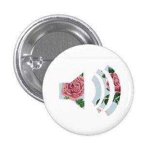 Botón floral de los sonidos pin redondo de 1 pulgada