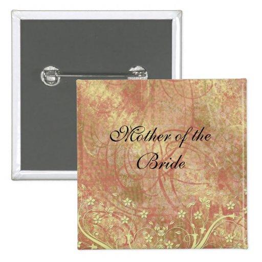 Botón floral del cordón del oro romántico de lujo