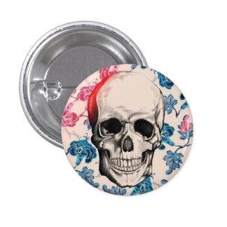Botón floral del cráneo pin redondo de 1 pulgada