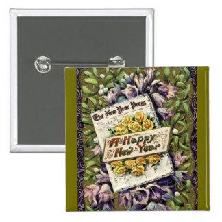 Botón floral del Pin de la Feliz Año Nuevo del
