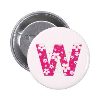 Botón floral rosado bonito inicial del monograma W Pin
