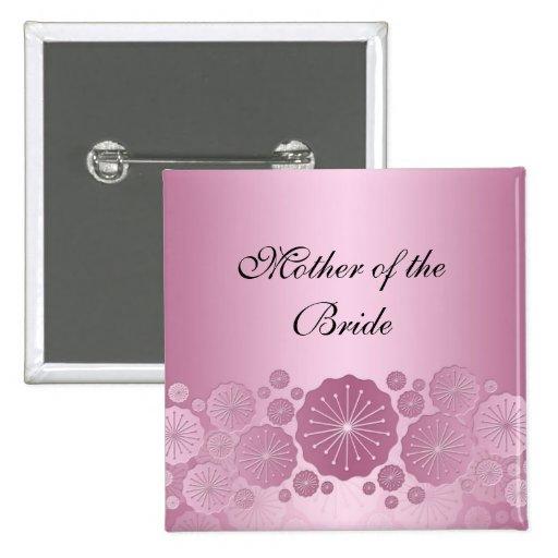 Botón floral rosado de lujo del cordón pin