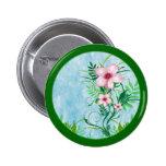 Botón floral rosado pin redondo de 2 pulgadas