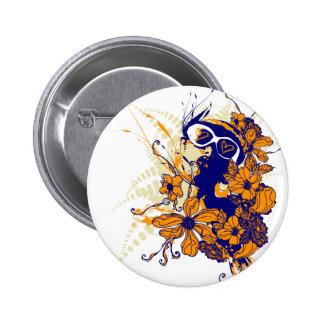 Botón floral urbano pin