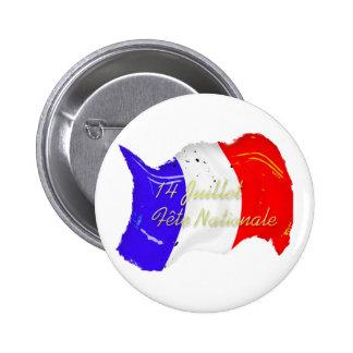 Botón francés de la bandera del Grunge Pin Redondo De 2 Pulgadas