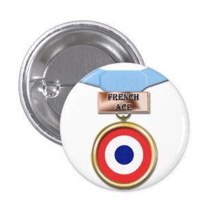 Botón francés de la medalla del as pin redondo de 1 pulgada