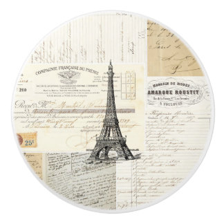 Botón francés de las Ephemeras de París del Pomo De Cerámica