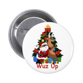 Botón fresco de Santa y del reno Pin
