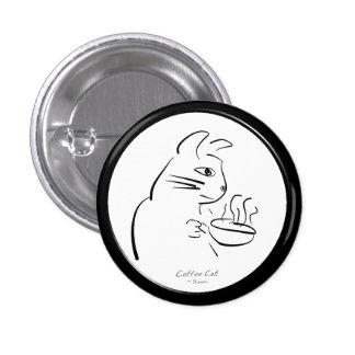 Botón fresco del gato del café pin redondo de 1 pulgada