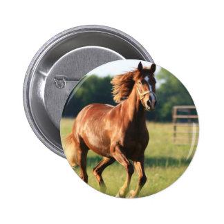 Botón galopante del caballo de la castaña pin redondo de 2 pulgadas