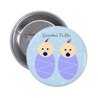 Botón gemelo azul de la abuela de los muchachos pins