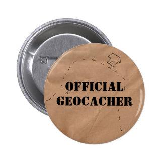 Botón: Geocacher oficial con el mapa viejo Pin Redondo De 2 Pulgadas
