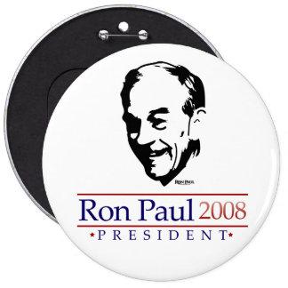 Botón gigantesco del retrato de Ron Paul Pin Redondo De 6 Pulgadas