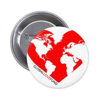 Botón global del fondo del amor pin redondo de 2 pulgadas
