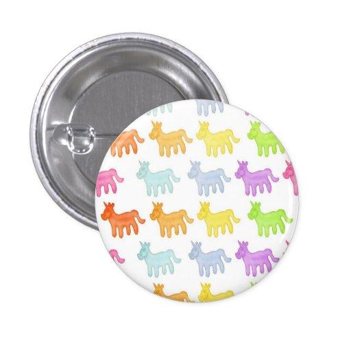 Botón gomoso del unicornio del arco iris pin redondo de 1 pulgada