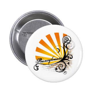 Botón gráfico floral soleado de Pennsylvania Pins