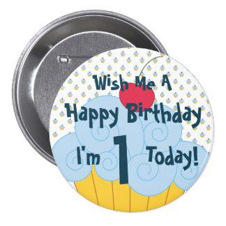 Botón grande de la magdalena del cumpleaños del pin redondo de 3 pulgadas