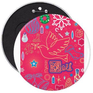 Botón grande del ejemplo icónico del navidad pin redondo de 6 pulgadas