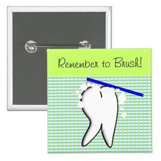 Botón grande dental o del dentista del personal de pin cuadrado