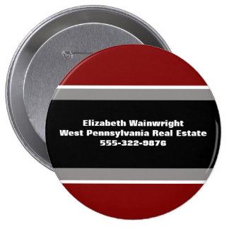 Botón gris negro rojo del Nametag de Classsic Pin Redondo De 4 Pulgadas