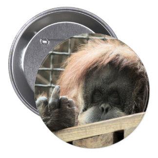 Botón grosero del orangután pin redondo de 3 pulgadas