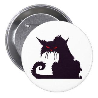 Botón gruñón del gato negro pin redondo de 3 pulgadas