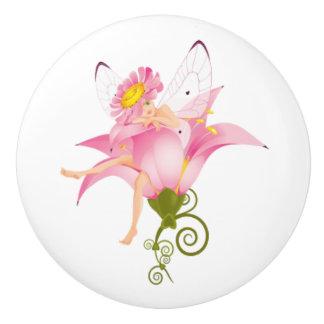 Botón/hada y flor de cerámica pomo de cerámica