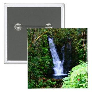 Botón hawaiano de las cascadas pin cuadrado