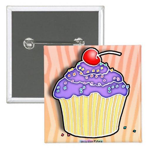 BOTÓN helado uva de la MAGDALENA de la lavanda Pin Cuadrado