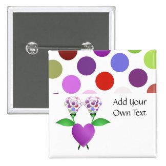 Botón hermoso del personalizable de los rosas del  pin cuadrado