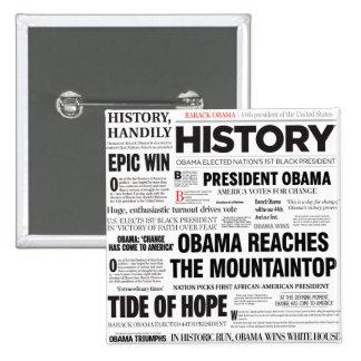Botón histórico del collage del título de Obama Pin Cuadrado