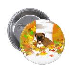 Botón - hojas de otoño del perro del boxeador pin
