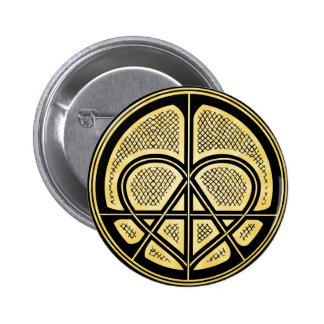 Botón humanitario del símbolo de la ANARQUÍA del A