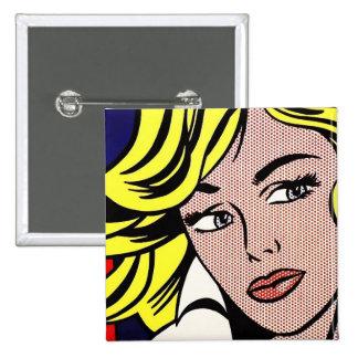 Botón icónico del arte pop pin cuadrado