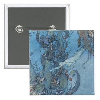 Botón ideal azul profundo de la sirena del vintage pin cuadrado