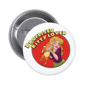 Botón imaginario del amante del gatito de los arte pin redondo de 2 pulgadas