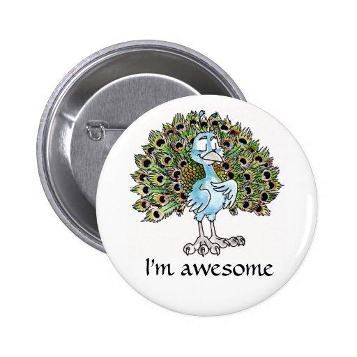 Botón impresionante del pavo real pin