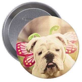 Botón inglés de la foto de la mariposa del dogo pin redondo de 4 pulgadas