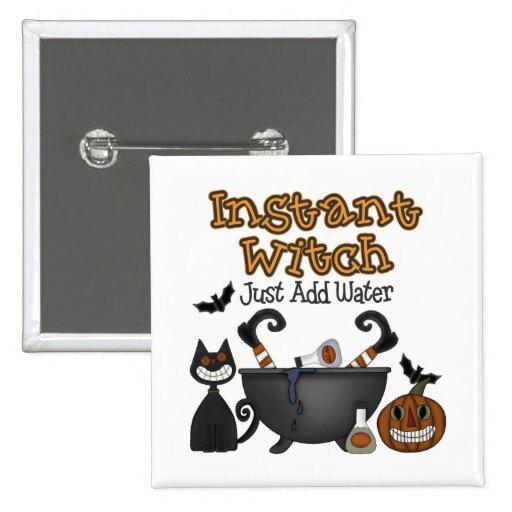 Botón inmediato divertido de la bruja de Halloween Pin Cuadrado