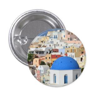 Botón/insignia de la arquitectura de Santorini Pin Redondo De 1 Pulgada